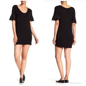 Splendid Frayed Flutter Sleeve Dress In Black